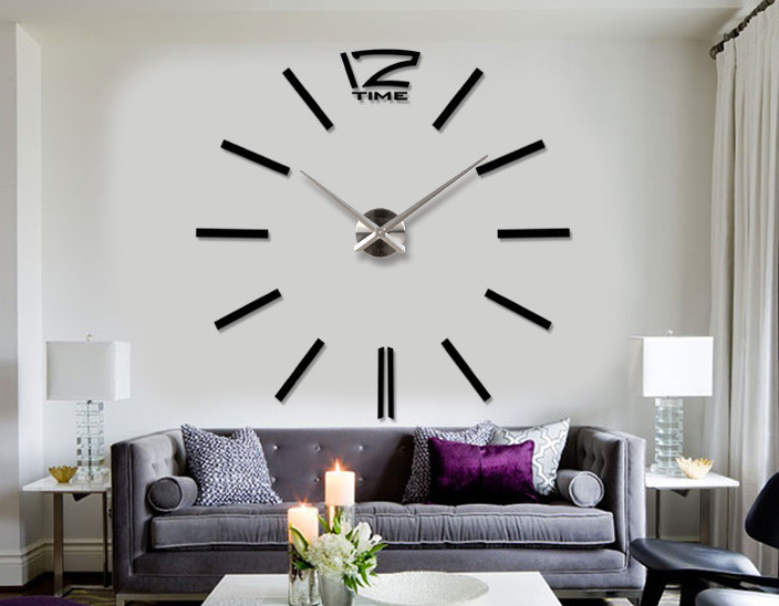 design wand uhr wohnzimmer wanduhr spiegel wandtattoo deko xxl 3d schwarz ebay. Black Bedroom Furniture Sets. Home Design Ideas